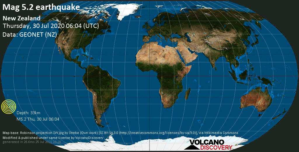 Moderate mag. 5.2 earthquake  - 734 km northeast of Tauranga, Bay of Plenty, New Zealand, on Thursday, 30 July 2020 at 06:04 (GMT)