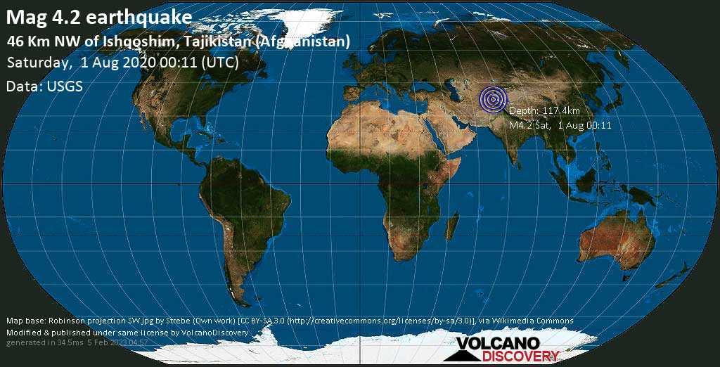 Mag. 4.2 earthquake  - 46 km northwest of Ishqoshim, Ishkoshim, Vilojati Muxtori Kūhistoni Badaxşon, Tajikistan, Afghanistan, on Saturday, 1 August 2020 at 00:11 (GMT)