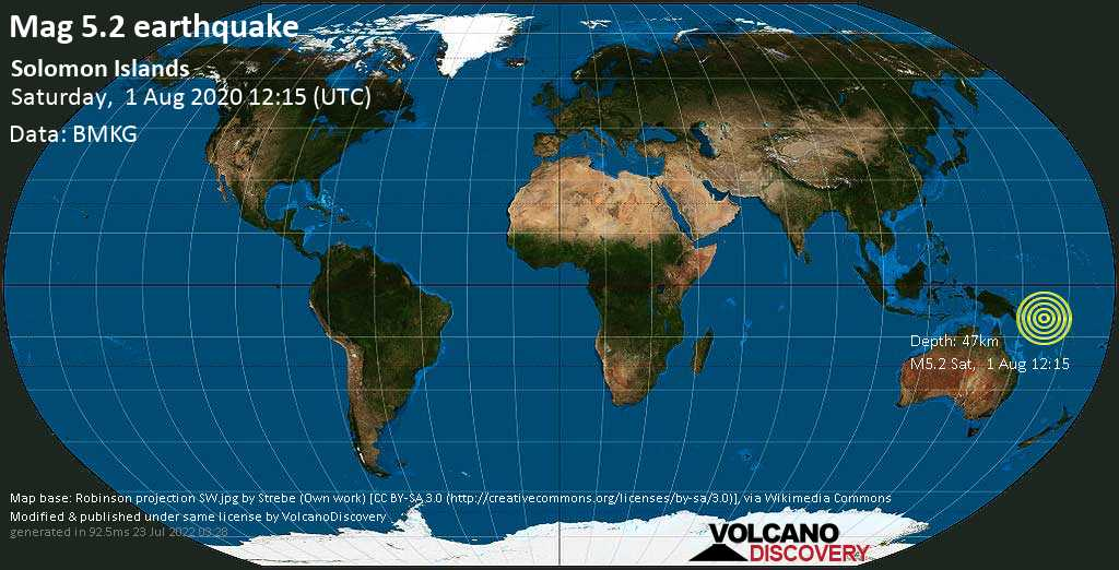 Moderate mag. 5.2 earthquake  - Solomon Islands on Saturday, 1 August 2020