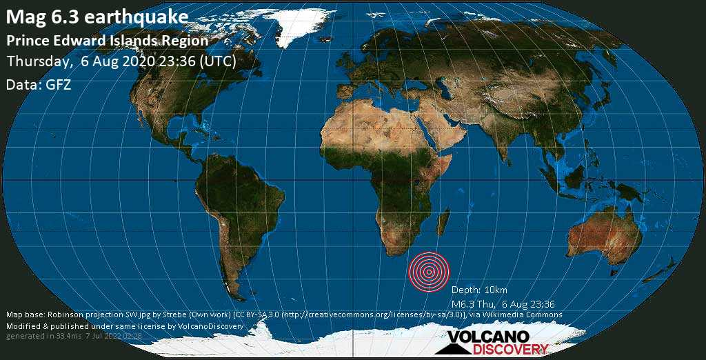 Very strong mag. 6.3 earthquake - Prince Edward Islands Region on Thursday, 6 August 2020 at 23:36 (GMT)