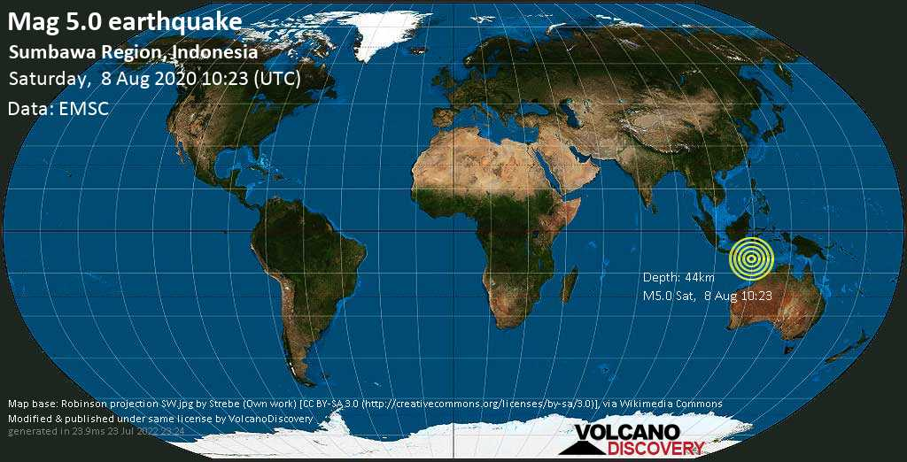 Moderate mag. 5.0 earthquake  - Indian Ocean, 158 km south of Bima, Bima City, West Nusa Tenggara, Indonesia, on Saturday, 8 August 2020 at 10:23 (GMT)