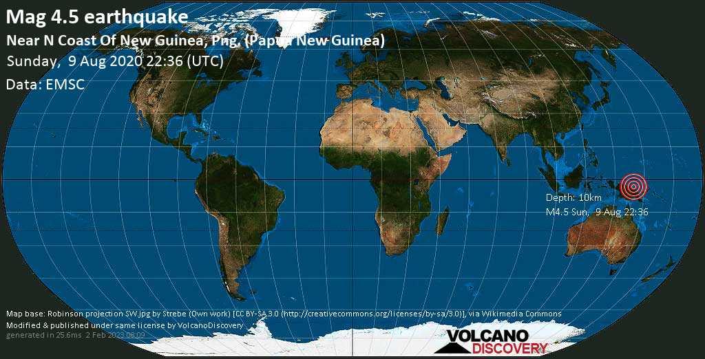 Light mag. 4.5 earthquake  - Near N Coast Of New Guinea, Png. (Papua New Guinea) on Sunday, 9 August 2020