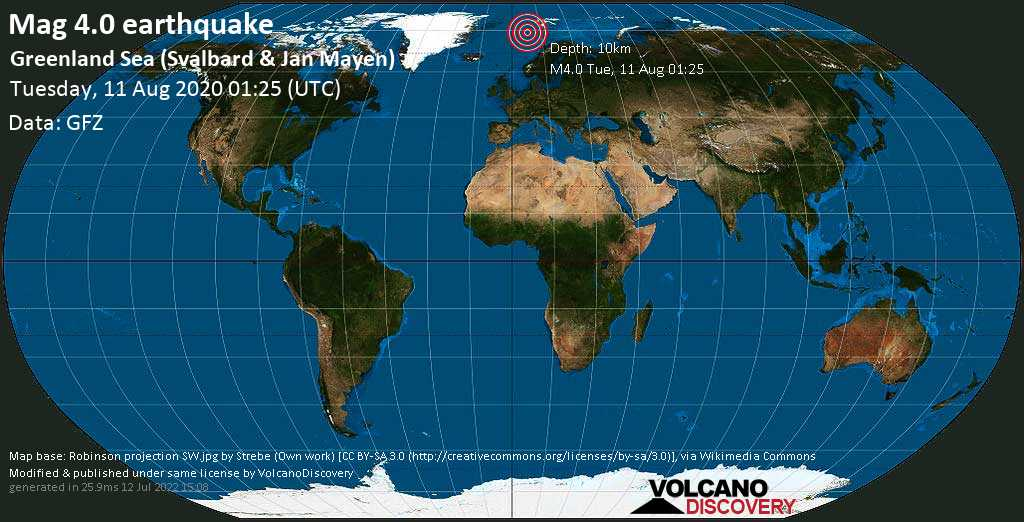 Terremoto moderado mag. 4.0 - Norwegian Sea, Svalbard & Jan Mayen, 586 km NW of Tromsø, Norway, Tuesday, 11 Aug. 2020