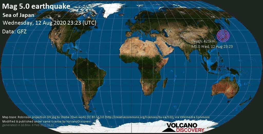 Moderate mag. 5.0 earthquake - Japan Sea, 221 km northwest of Kanazawa, Ishikawa, Japan, on Wednesday, 12 August 2020 at 23:23 (GMT)