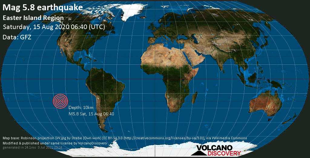 Strong mag. 5.8 earthquake - South Pacific Ocean, 572 km northwest of Hanga Roa, Provincia de Isla de Pascua, Region de Valparaiso, Chile, on Saturday, August 15, 2020 at 06:40 (GMT)
