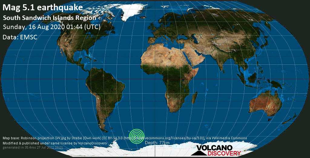 Moderate mag. 5.1 earthquake  - South Atlantic Ocean, South Georgia & South Sandwich Islands, on Sunday, 16 August 2020 at 01:44 (GMT)