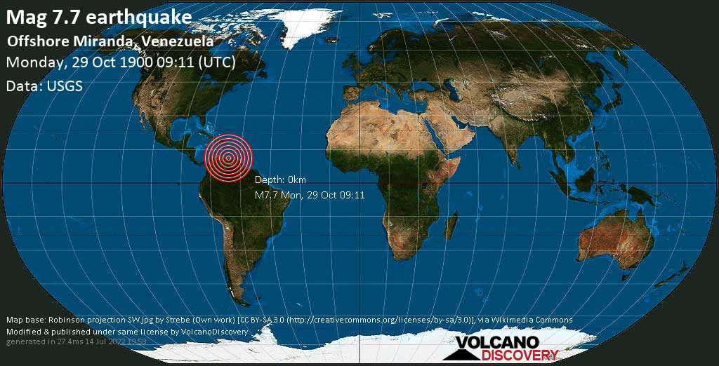 Major magnitude 7.7 earthquake - Caribbean Sea, 90 km northeast of Guarenas, Municipio Zamora, Miranda, Venezuela, on Monday, October 29, 1900 at 09:11 (GMT)