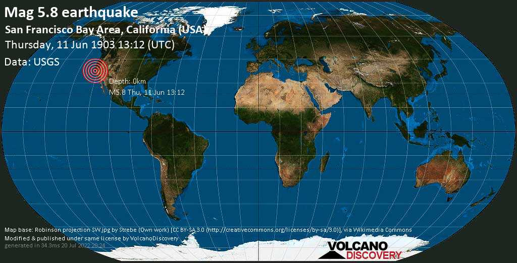 Strong mag. 5.8 earthquake - 2 mi south of Milpitas, Santa Clara County, California, USA, on Thursday, 11 June 1903 at 13:12 (GMT)