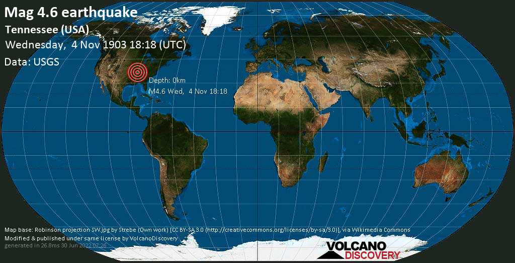 Moderate mag. 4.6 earthquake - Fulton County, Tennessee, 6.2 mi south of New Madrid, Missouri, USA, on Wednesday, 4 November 1903 at 18:18 (GMT)