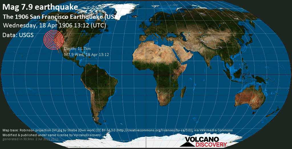 Major magnitude 7.9 earthquake - North Pacific Ocean, 5.7 mi northwest of Daly City, San Mateo County, California, USA, on Wednesday, April 18, 1906 at 13:12 (GMT)