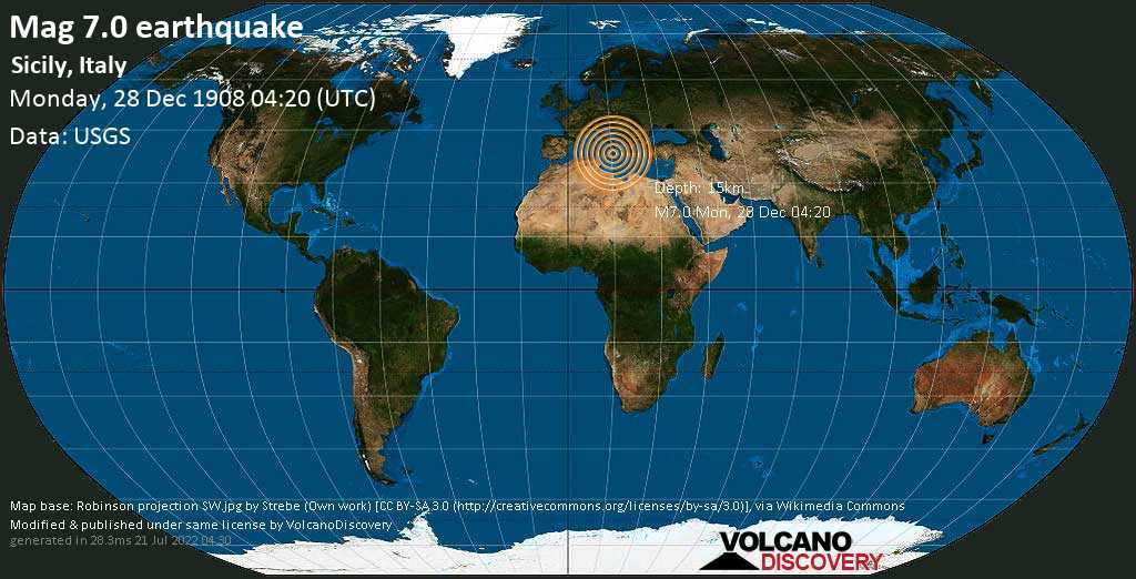 Major magnitude 7.0 earthquake - 4.8 km northwest of Roccalumera, Province of Messina, Sicily, Italy, on Monday, December 28, 1908 at 04:20 (GMT)
