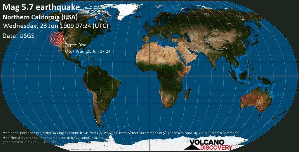 Strong mag. 5.7 earthquake - 33 mi west of Truckee, Nevada County, California, USA, on Wednesday, 23 June 1909 at 07:24 (GMT)
