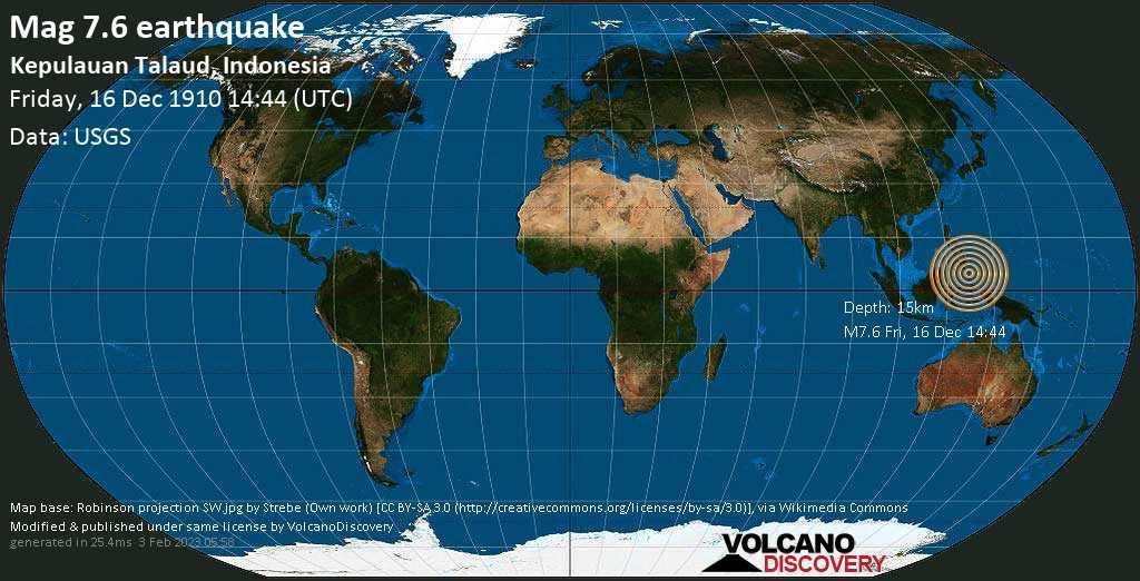 Major magnitude 7.6 earthquake - Philippines Sea, 63 km northeast of Pulau Dumarehe Island, Indonesia, on Friday, December 16, 1910 at 14:44 (GMT)