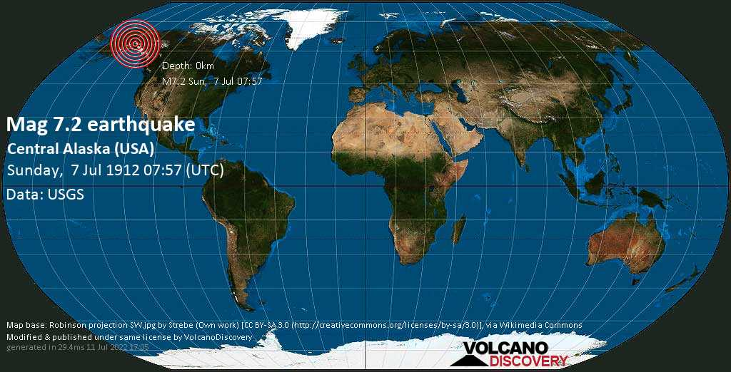 Major magnitude 7.2 earthquake - Valdez-Cordova Parish, 131 mi southeast of Fairbanks, Alaska, USA, on Sunday, July 7, 1912 at 07:57 (GMT)