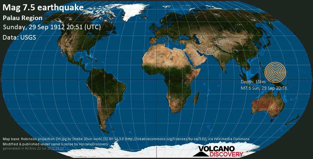 Major magnitude 7.5 earthquake - North Pacific Ocean, 266 km east of Koror Town, Palau, on Sunday, 29 September 1912 at 20:51 (GMT)