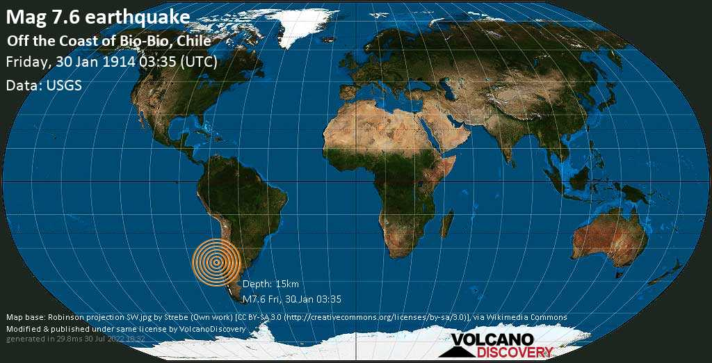 Major mag. 7.6 earthquake  - Off the Coast of Bio-Bio, Chile on Friday, 30 January 1914