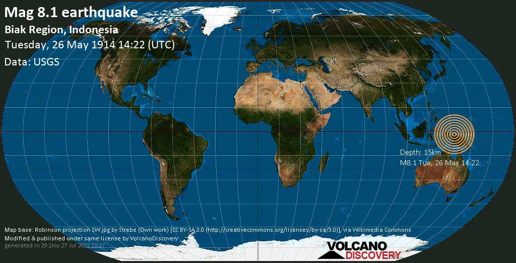 Great mag. 8.1 earthquake  - Biak Region, Indonesia, on Tuesday, 26 May 1914 at 14:22 (GMT)