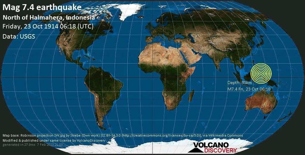 Major mag. 7.4 earthquake  - North of Halmahera, Indonesia on Friday, 23 October 1914
