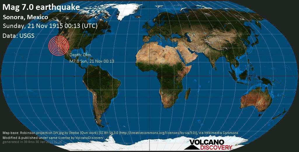 Major mag. 7.0 earthquake  - Sonora, Mexico on Sunday, 21 November 1915