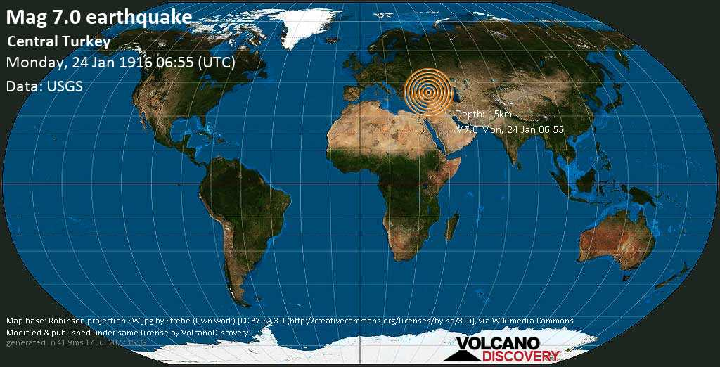 Major magnitude. 7.0 earthquake  - Central Turkey on Monday, 24 January 1916 at 06:55 (GMT)