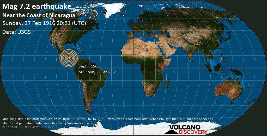 Major mag. 7.2 earthquake  - Near the Coast of Nicaragua on Sunday, 27 February 1916