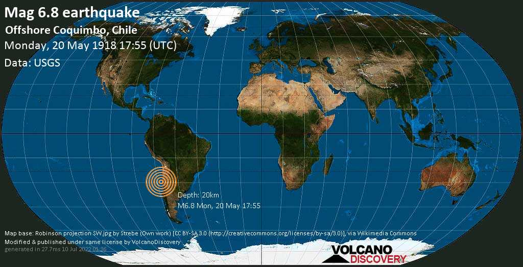 Strong mag. 6.8 earthquake  - Offshore Coquimbo, Chile on Monday, 20 May 1918