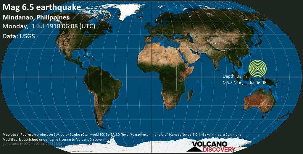 Strong mag. 6.5 earthquake  - Mindanao, Philippines, on Monday, 1 July 1918 at 06:08 (GMT)