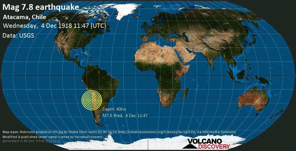 Major mag. 7.8 earthquake  - Atacama, Chile on Wednesday, 4 December 1918