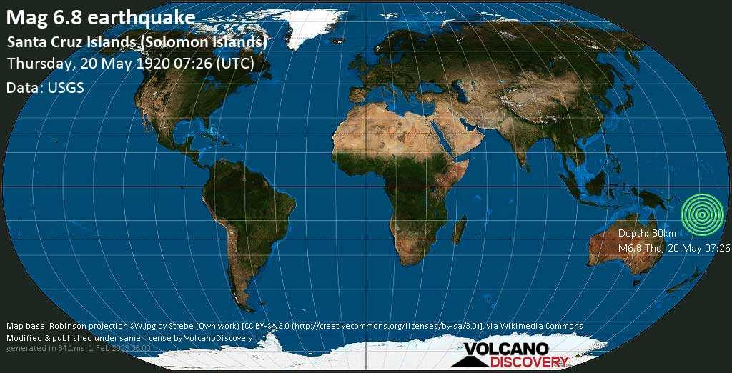 Strong mag. 6.8 earthquake  - Santa Cruz Islands (Solomon Islands) on Thursday, 20 May 1920 at 07:26 (GMT)