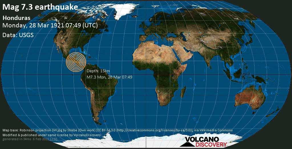 Major magnitude 7.3 earthquake - Departamento de El Paraiso, 39 km north of Choluteca, Honduras, on Monday, March 28, 1921 at 07:49 (GMT)