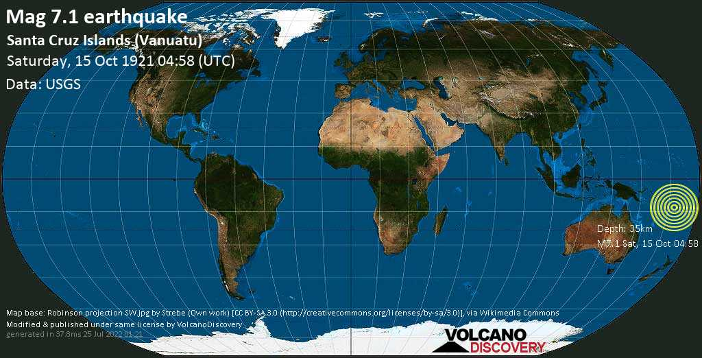 Major mag. 7.1 earthquake  - Santa Cruz Islands (Vanuatu) on Saturday, 15 October 1921