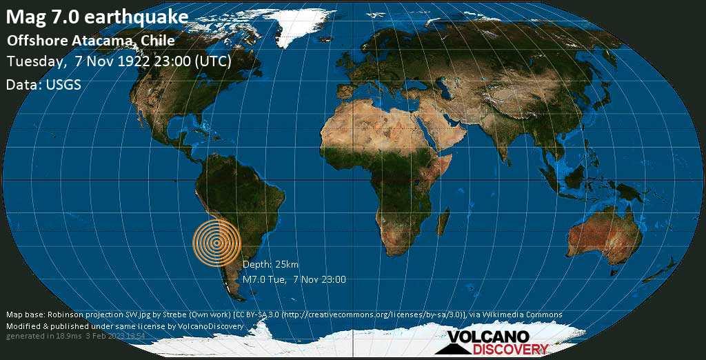 Major mag. 7.0 earthquake  - Offshore Atacama, Chile on Tuesday, 7 November 1922