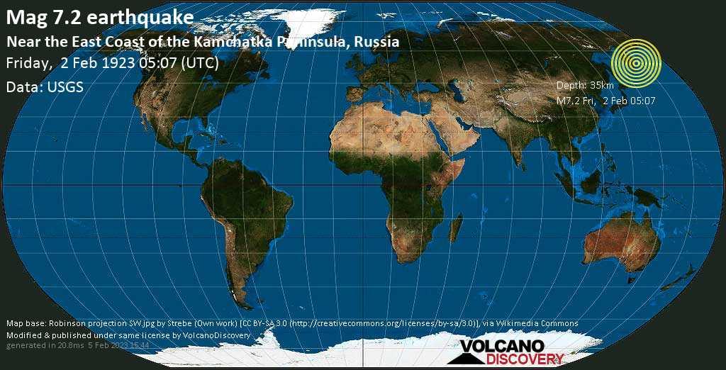 Major mag. 7.2 earthquake  - Near the East Coast of the Kamchatka Peninsula, Russia on Friday, 2 February 1923