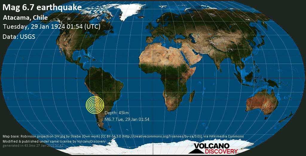Strong mag. 6.7 earthquake  - Atacama, Chile on Tuesday, 29 January 1924