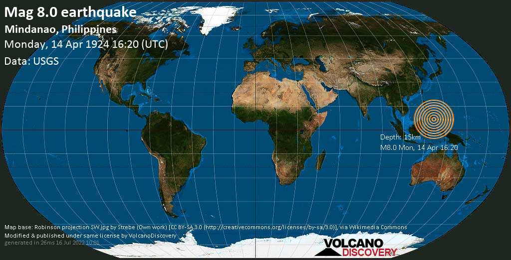 Major magnitude 8.0 earthquake - Philippines Sea, 5.9 km west of La Union, Philippines, on Monday, 14 April 1924 at 16:20 (GMT)