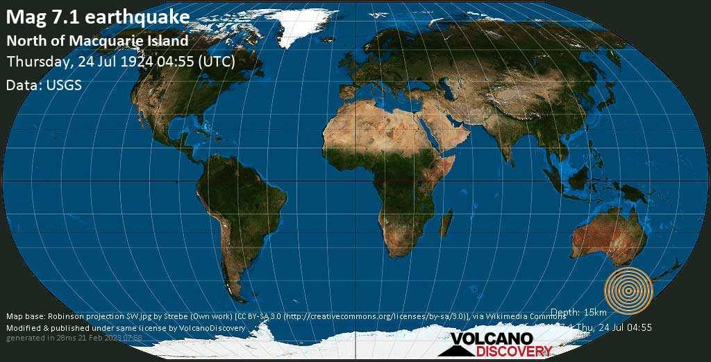 Major magnitude. 7.1 earthquake  - Tasman Sea on Thursday, 24 July 1924 at 04:55 (GMT)