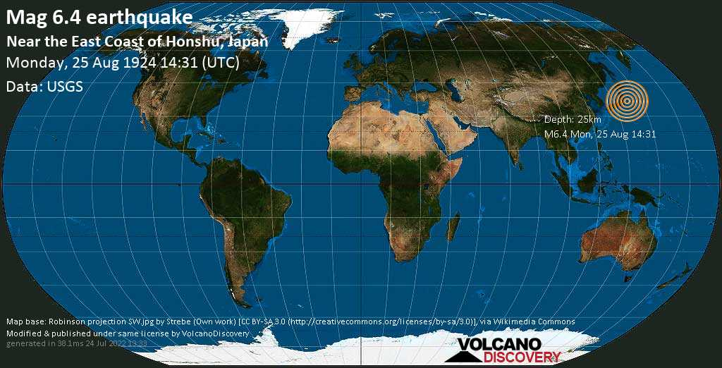 Strong mag. 6.4 earthquake  - Near the East Coast of Honshu, Japan on Monday, 25 August 1924