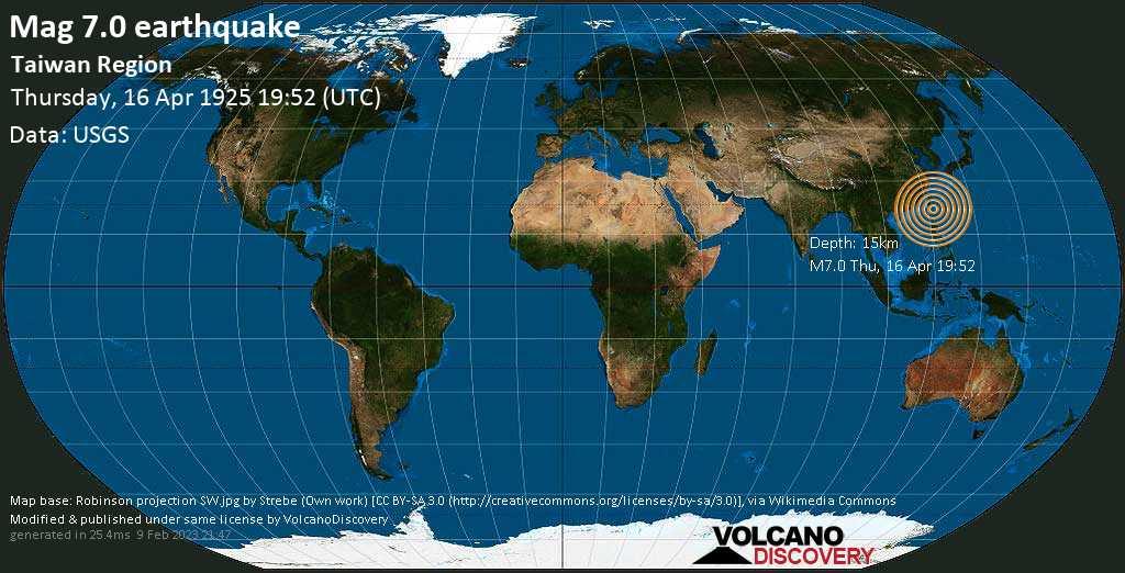 Major mag. 7.0 earthquake  - Taiwan Region on Thursday, 16 April 1925