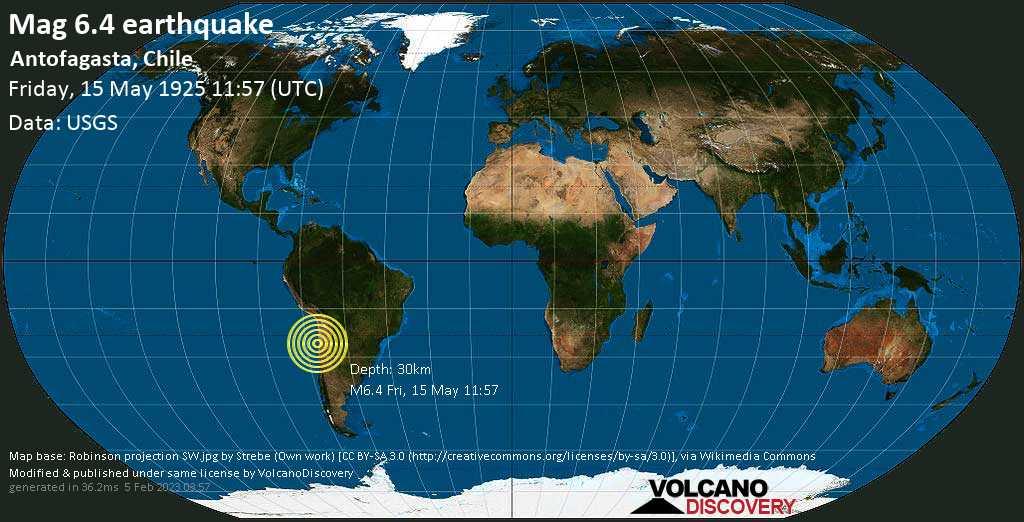 Strong mag. 6.4 earthquake  - Antofagasta, Chile, on Friday, 15 May 1925 at 11:57 (GMT)
