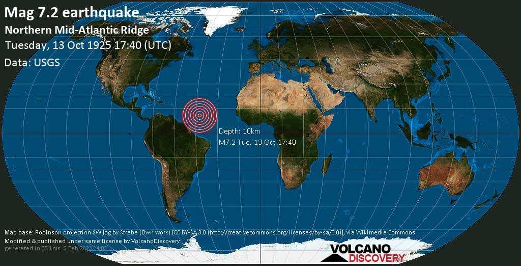 Major mag. 7.2 earthquake  - Northern Mid-Atlantic Ridge on Tuesday, 13 October 1925