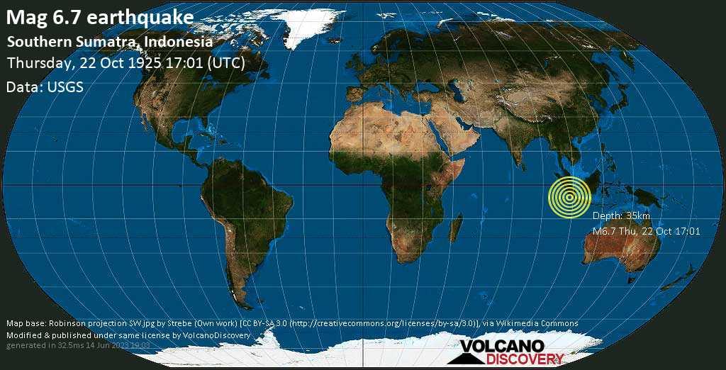 Strong mag. 6.7 earthquake  - Southern Sumatra, Indonesia on Thursday, 22 October 1925