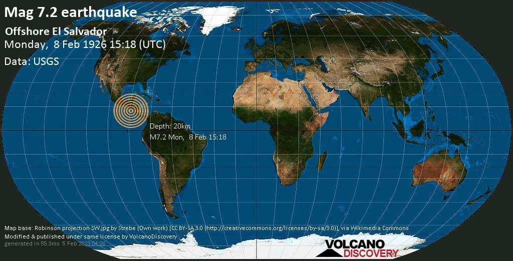 Major magnitude 7.2 earthquake - North Pacific Ocean, 119 km south of Usulutan, El Salvador, on Monday, February 8, 1926 at 15:18 (GMT)