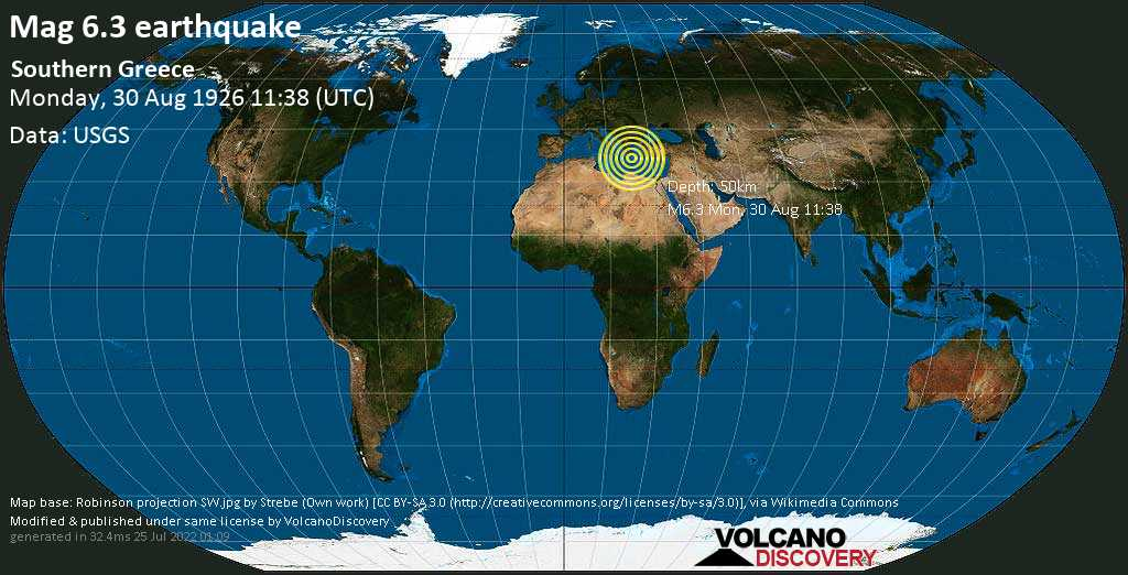 Strong mag. 6.3 earthquake - 14 km south of Gefyra, Laconia, Peloponnese, Greece, on Monday, August 30, 1926 at 11:38 (GMT)
