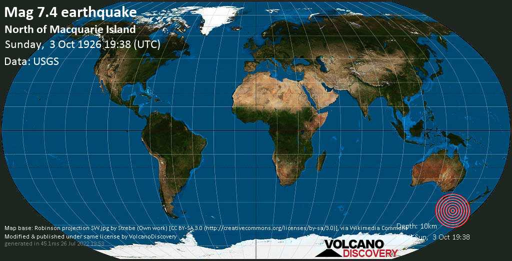 Major magnitude. 7.4 earthquake  - North of Macquarie Island on Sunday, 3 October 1926 at 19:38 (GMT)