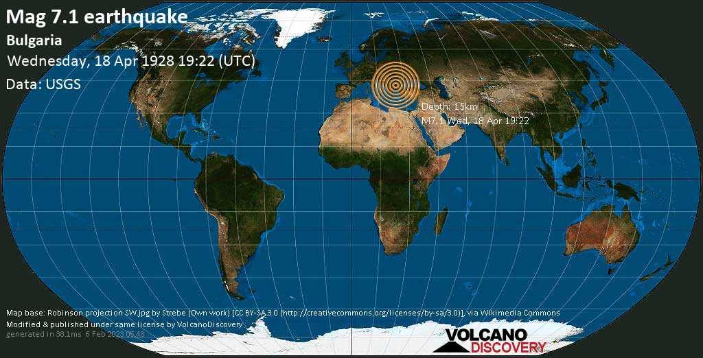 Major mag. 7.1 earthquake  - Bulgaria on Wednesday, 18 April 1928