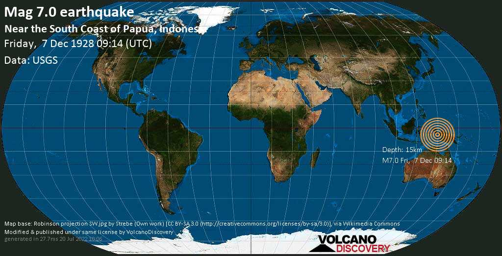 Major mag. 7.0 earthquake  - Near the South Coast of Papua, Indonesia on Friday, 7 December 1928