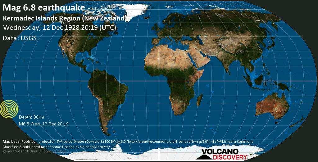 Strong mag. 6.8 earthquake  - Kermadec Islands Region (New Zealand) on Wednesday, 12 December 1928