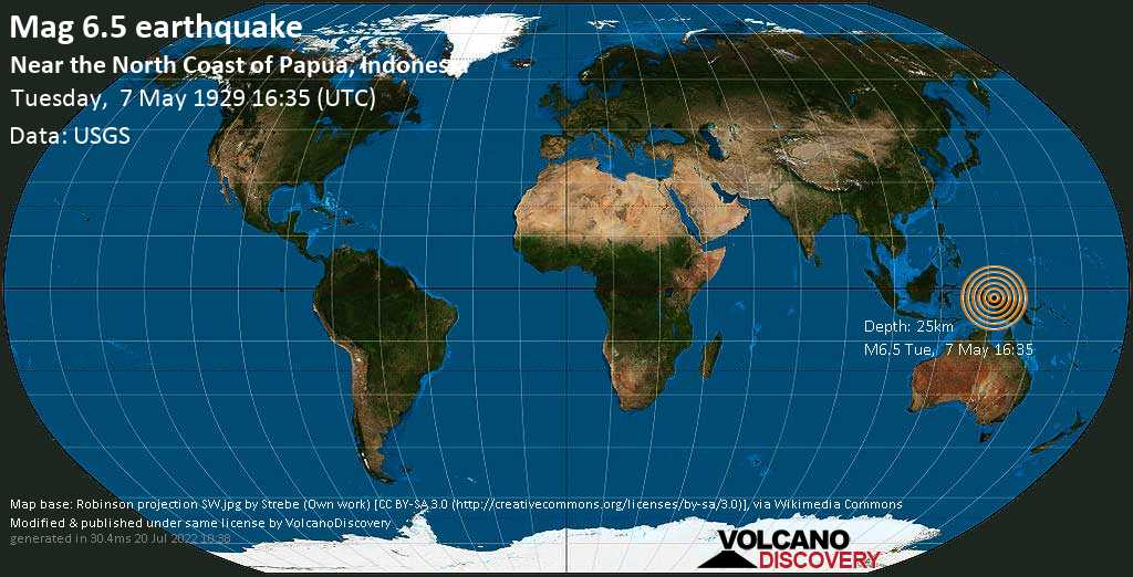 Very strong mag. 6.5 earthquake - South Pacific Ocean, 56 km northeast of Pulau Nutorutomorya Island, Indonesia, on Tuesday, 7 May 1929 at 16:35 (GMT)