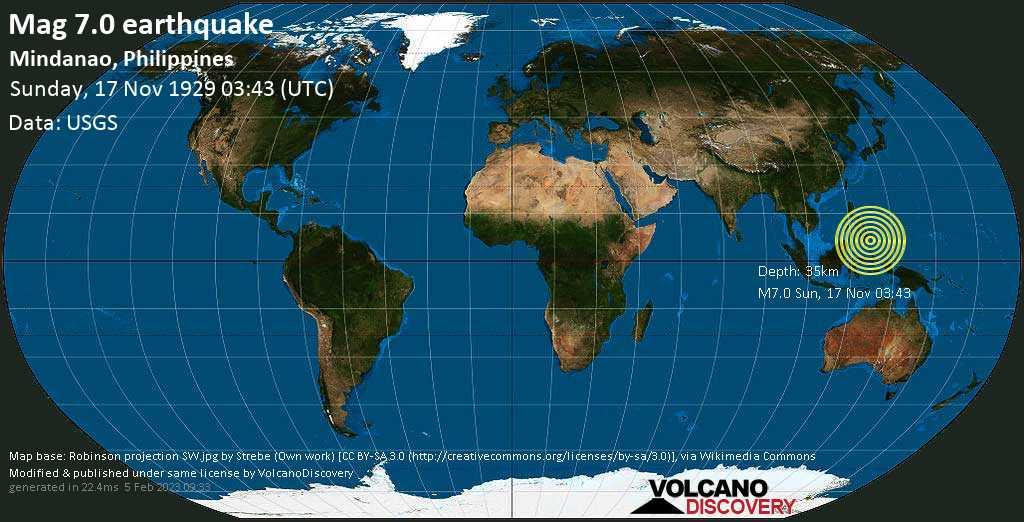 Major magnitude 7.0 earthquake - Philippines Sea, 30 km southeast of Sigaboy Island, Philippines, on Sunday, November 17, 1929 at 03:43 (GMT)