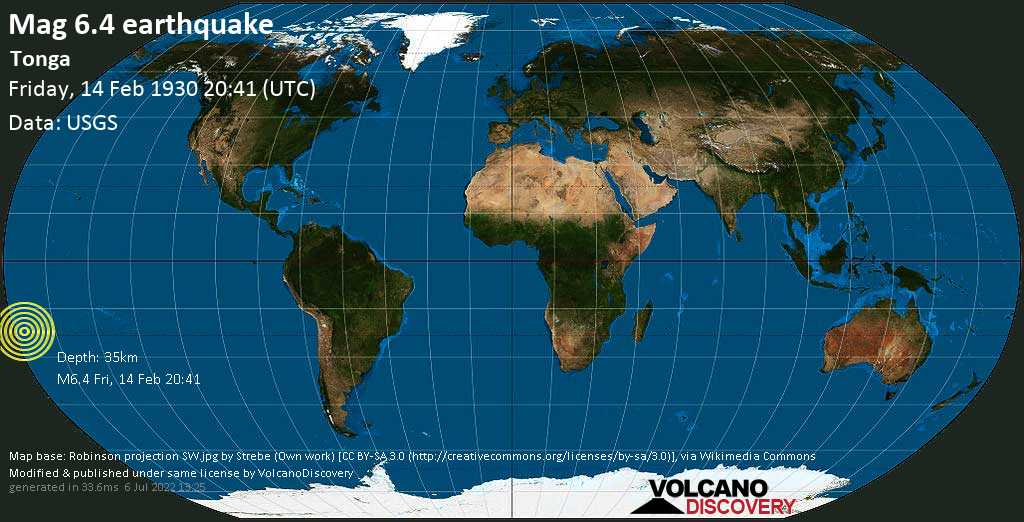 Very strong mag. 6.4 earthquake - South Pacific Ocean, 82 km south of Nuku\'alofa, Tongatapu, on Friday, 14 February 1930 at 20:41 (GMT)